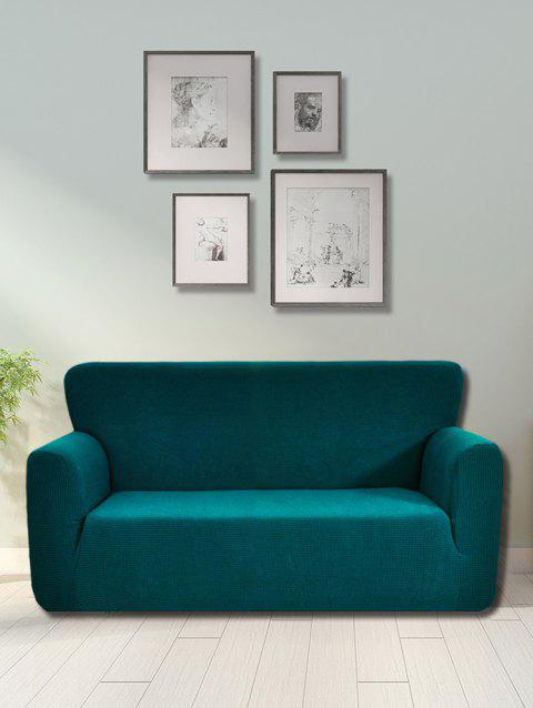 Checked Elastic Knitted Slipcover - PEACOCK BLUE DOUBLE SEATS