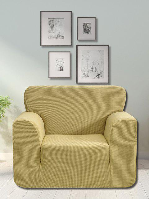Checked Elastic Knitted Slipcover - BEIGE SINGLE SEAT