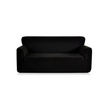Checked Elastic Knitted Slipcover - BLACK THREE SEATS