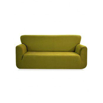 Checked Elastic Knitted Slipcover - YELLOW GREEN THREE SEATS