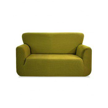 Checked Elastic Knitted Slipcover - YELLOW GREEN DOUBLE SEATS