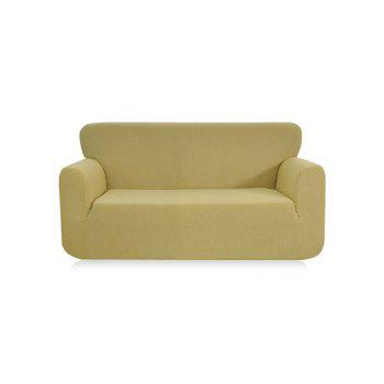 Checked Elastic Knitted Slipcover - BEIGE DOUBLE SEATS