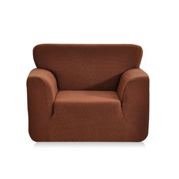 Checked Elastic Knitted Slipcover - COFFEE SINGLE SEAT