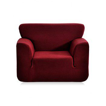 Checked Elastic Knitted Slipcover - RED WINE SINGLE SEAT