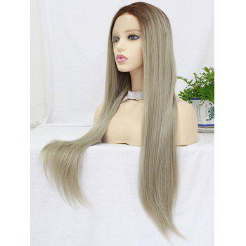 Free Part Colormix Long Straight Synthetic Lace Front Wig - ARMY BROWN