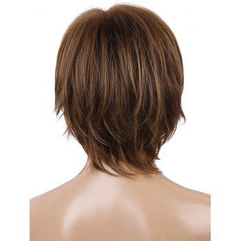 Short Inclined Bang Straight Layer Capless Synthetic Wig - multicolor
