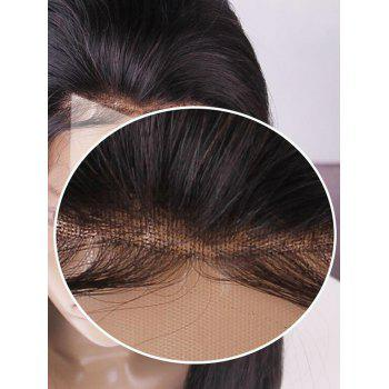 Long Free Part Straight Lace Front Human Hair Party Wig - NATURAL BLACK