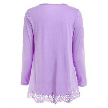 Charming Lace Spliced Hem Long Sleeve Solid Color T-Shirt For Women - PURPLE XL