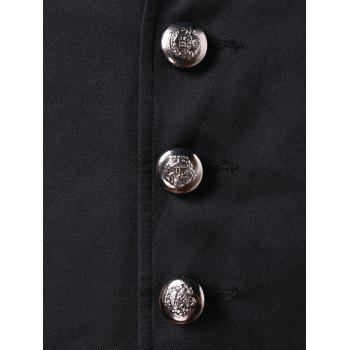 Turn Down Collar Single Breasted Blazer - BLACK XL