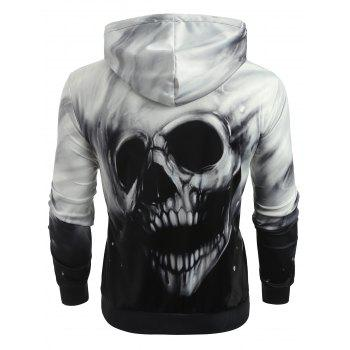 Fading Skull Print Pullover Hoodie - WHITE M
