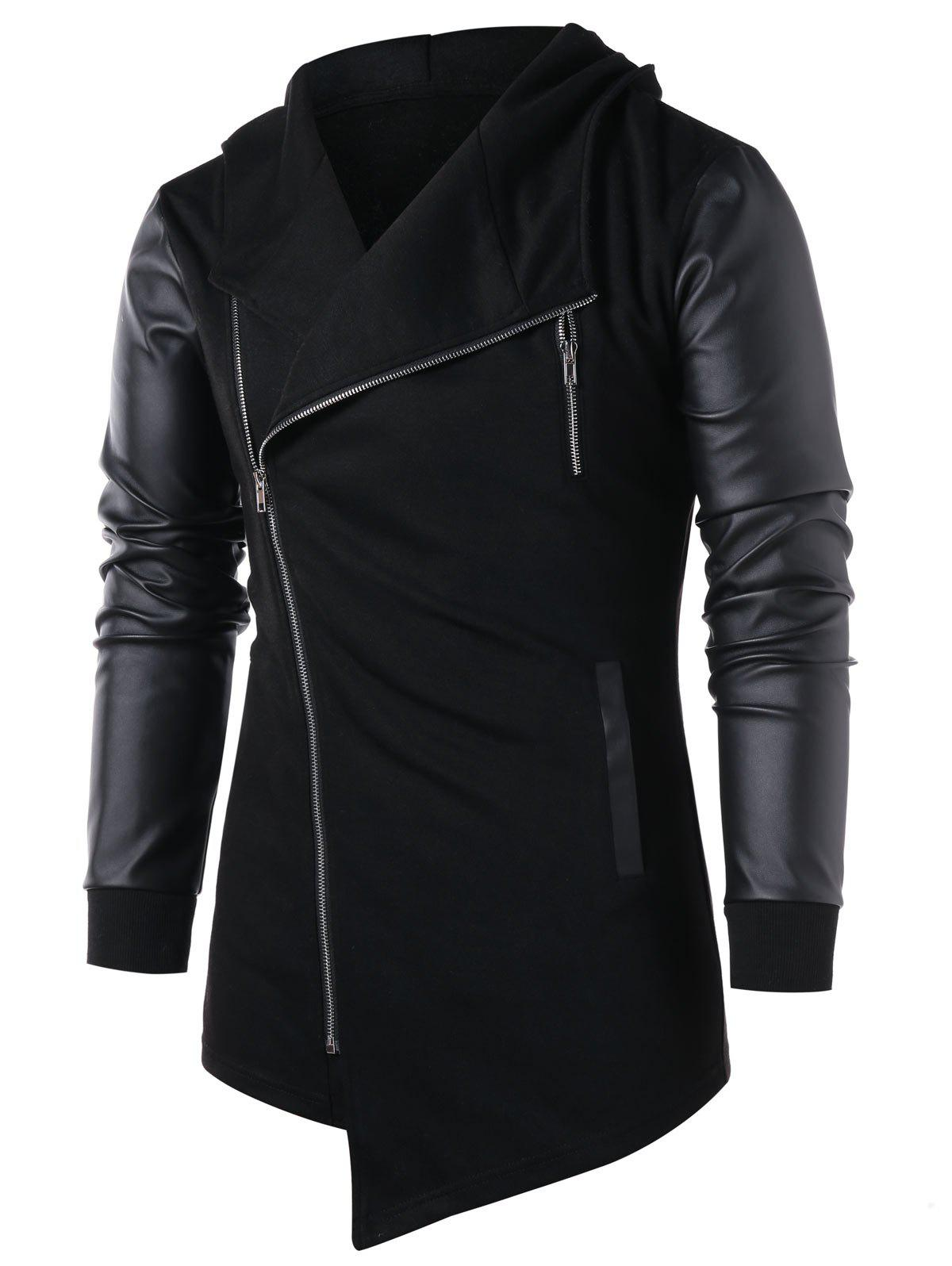Asymmetric Panel Zip Embellished Coat - BLACK L