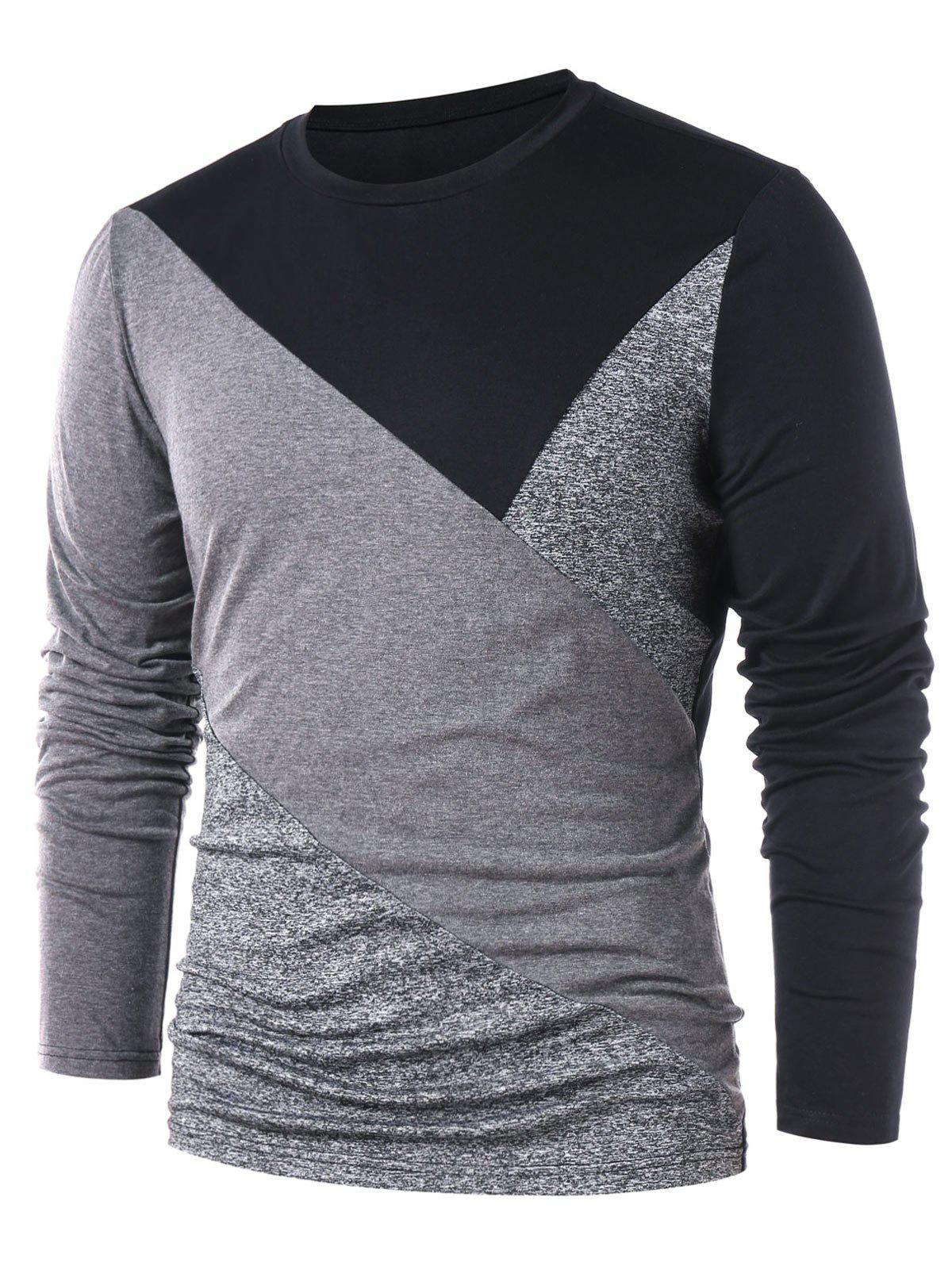 Round Neck Contrast Color T-shirt - GRAY XL