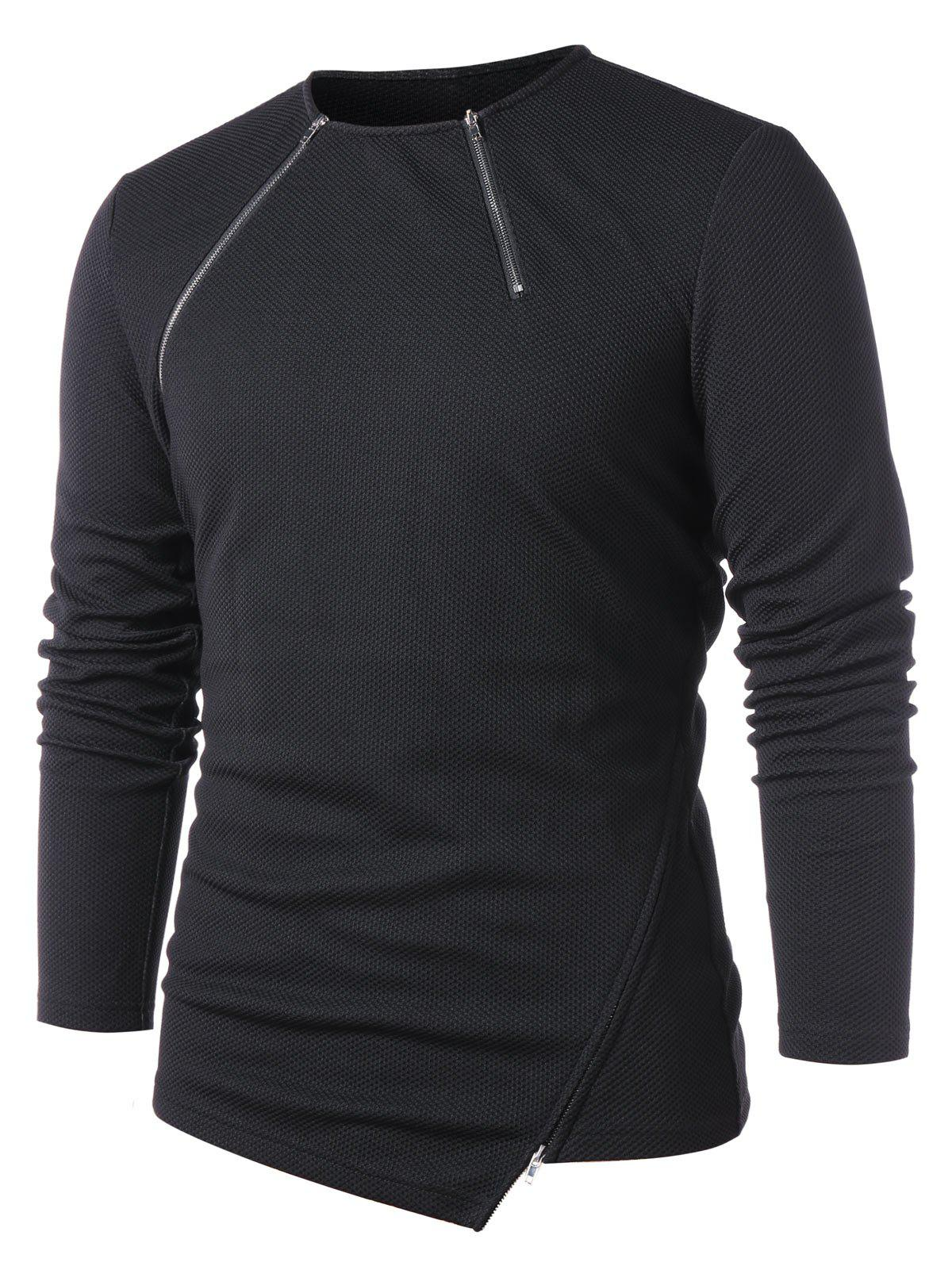 Asymmetric Round Neck Zip Hem T-shirt - BLACK XL