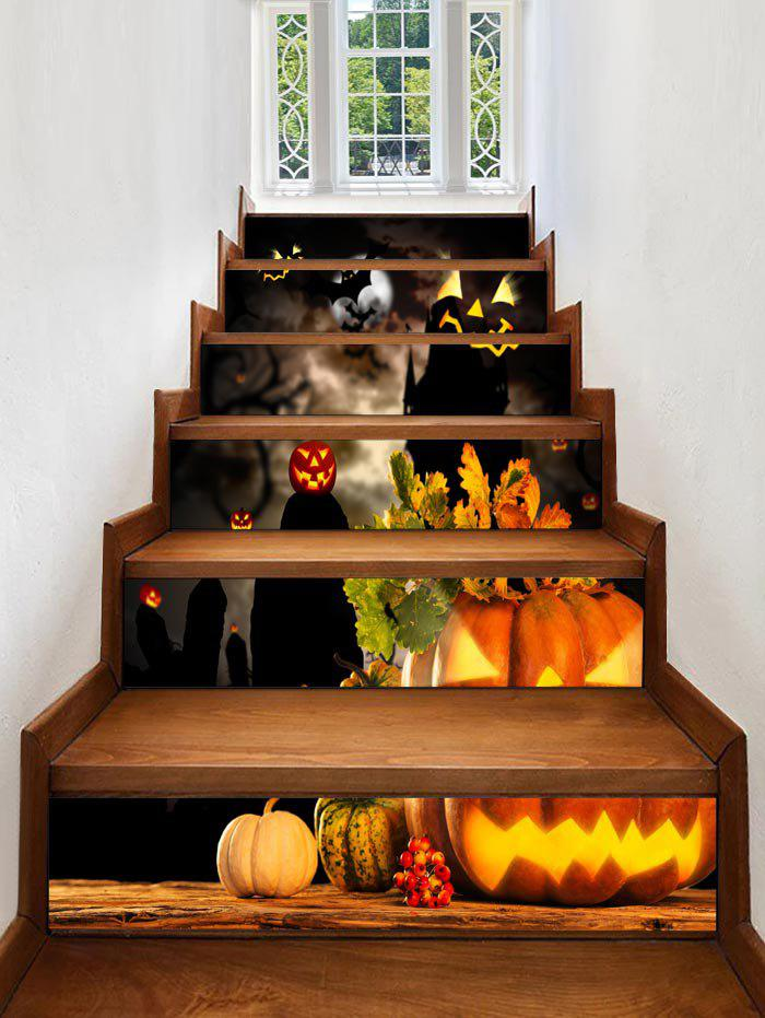 Autocollants d'Escaliers à Imprimé Citrouilles d'Halloween - multicolor 6PCS:39*7 INCH( NO FRAME )
