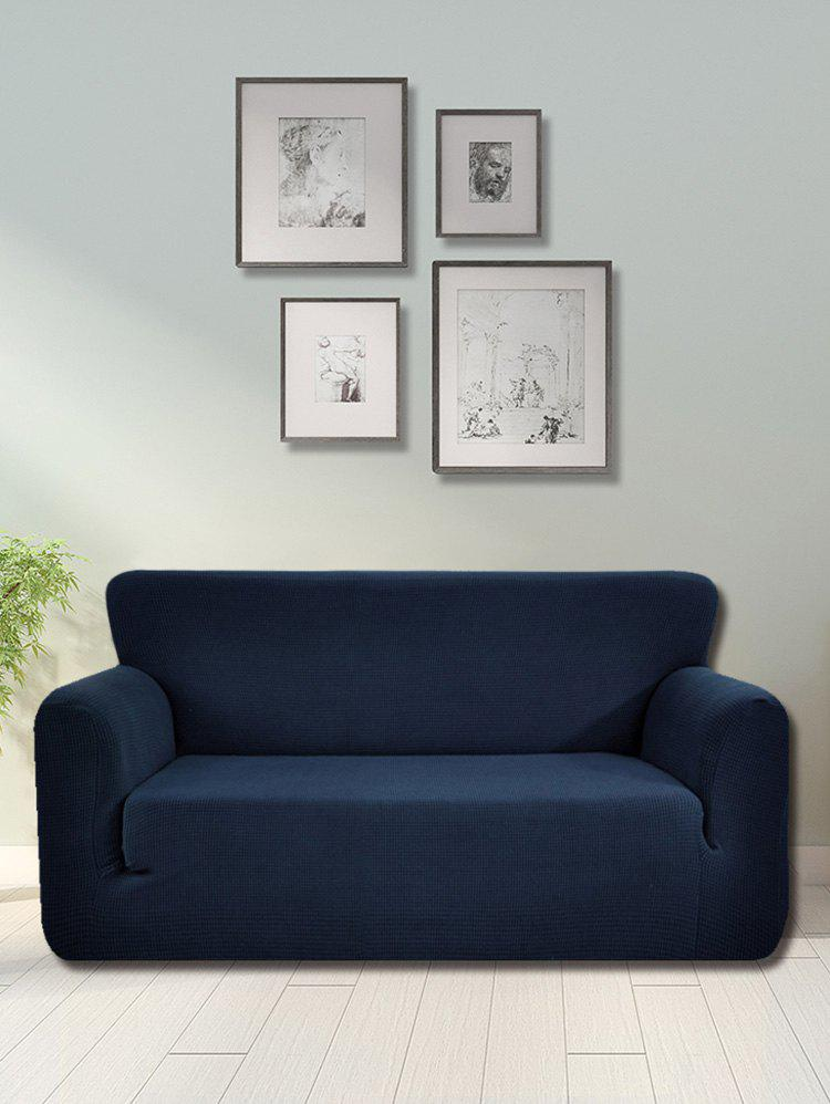 Checked Elastic Knitted Slipcover - CADETBLUE DOUBLE SEATS
