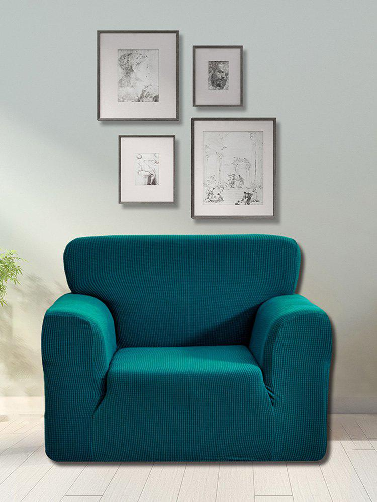 Checked Elastic Knitted Slipcover - PEACOCK BLUE SINGLE SEAT