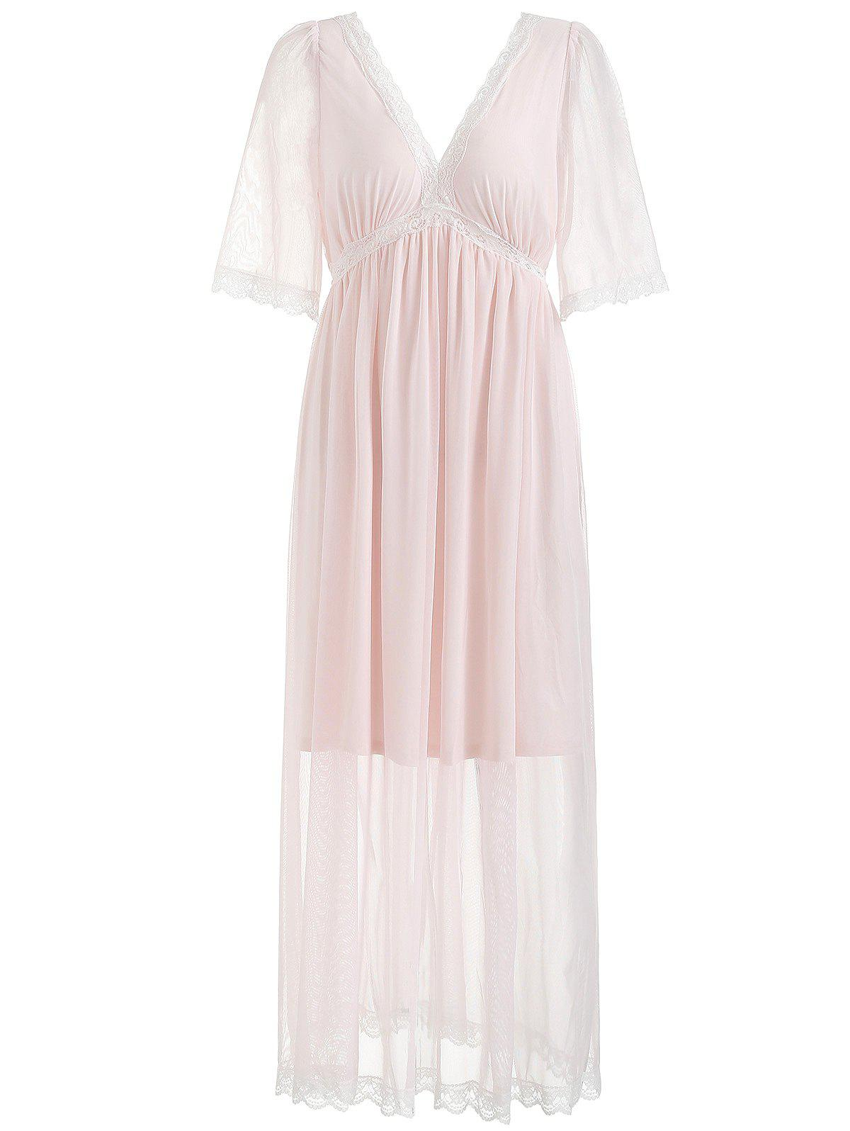 Plongée Mesh Maxi Nightdress - Cerisier Rose S