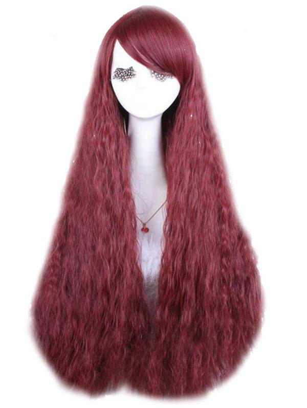 Long Inclined Bang Corn Hot Wavy Party Synthetic Wig - RED WINE