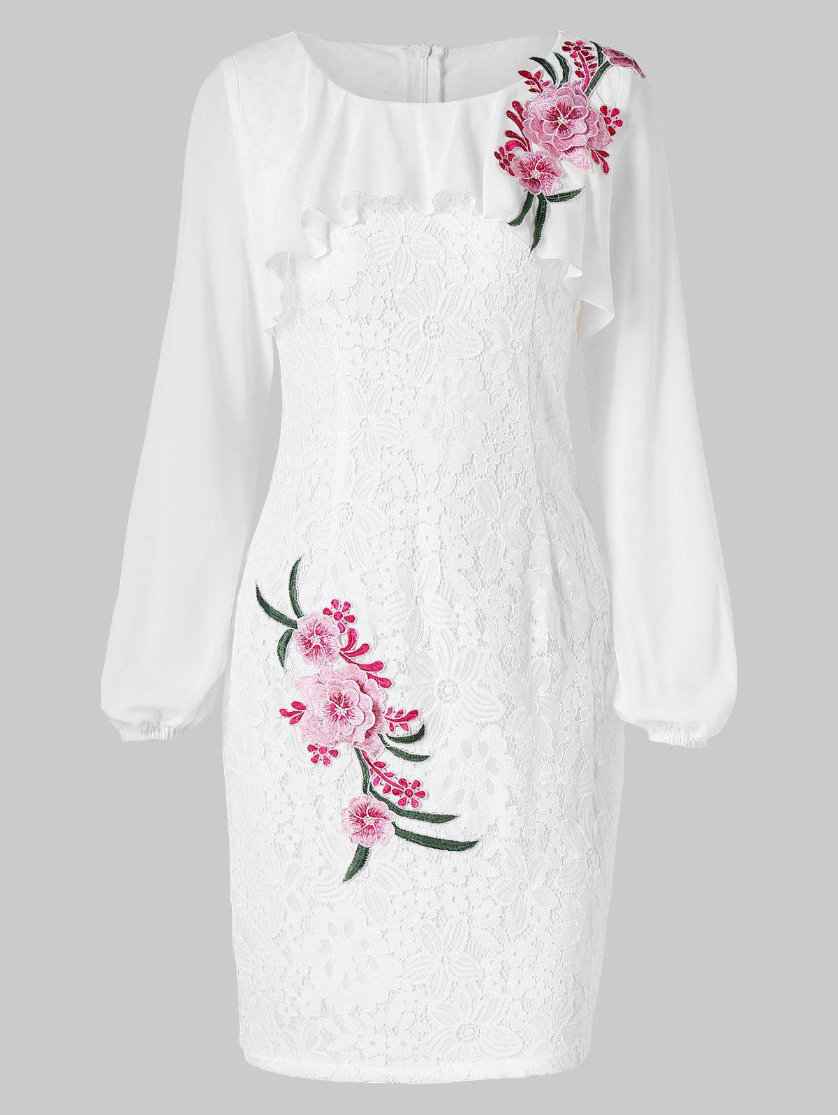 Embroidered Lace Bodycon Dress - WHITE XL