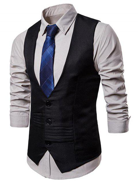 Layered Decoration Slim Fit Dress Vest - BLACK L