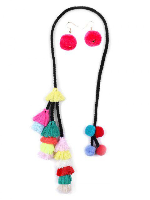 Tassel Fuzzy Balls Necklace with Earrings - multicolor