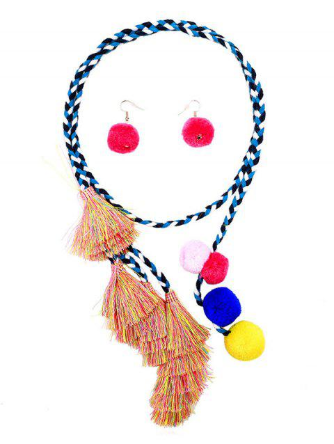Fuzzy Ball Tassel Necklace Earrings Set - multicolor
