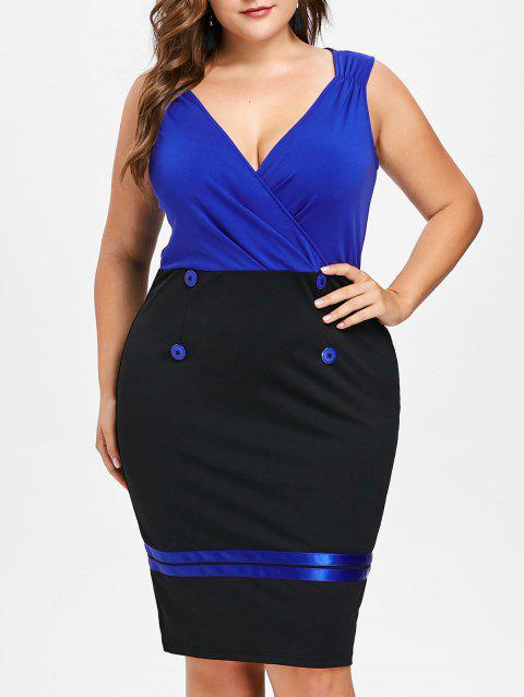 Plus Size Color Block Tight Dress - ROYAL BLUE 2X