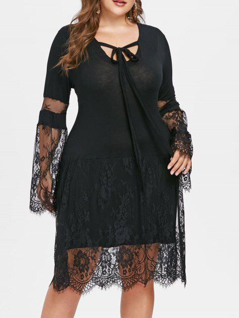 Plus Size Lace Eyelash Knee Length Dress - BLACK 1X
