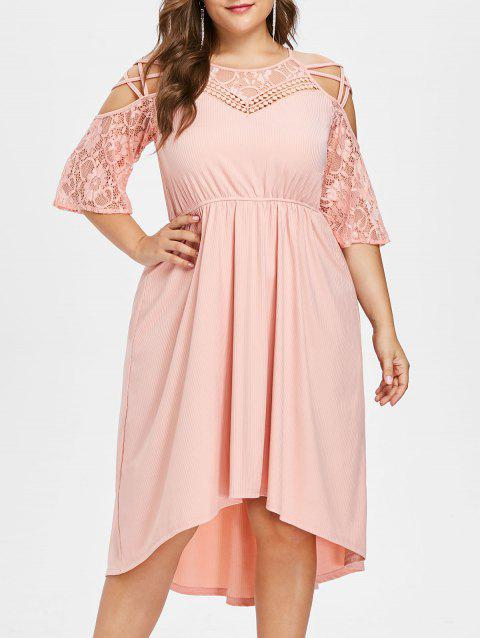 2018 Plus Size Criss Cross Lace Trim Ribbed Dress Light Pink L In