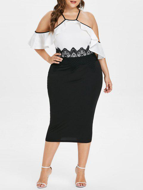 Open Shoulder Ruffle Trim Plus Size Dress - WHITE 1X