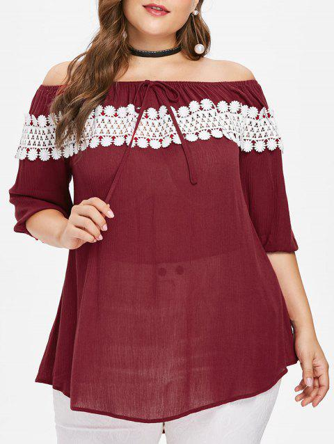 Plus Size Applique Blouse - RED WINE 3X