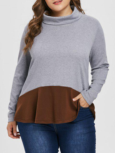 Color Lump Plus Size Turtleneck Sweatshirt - GRAY 3X