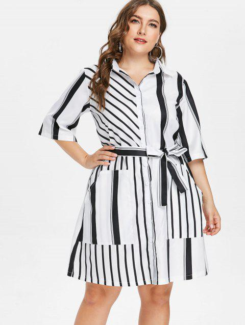 Plus Size Longline Striped Shirt - WHITE 4X