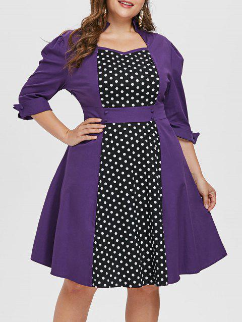 Sweetheart Neck Plus Size Polka Dot A Line Dress - PURPLE 4X