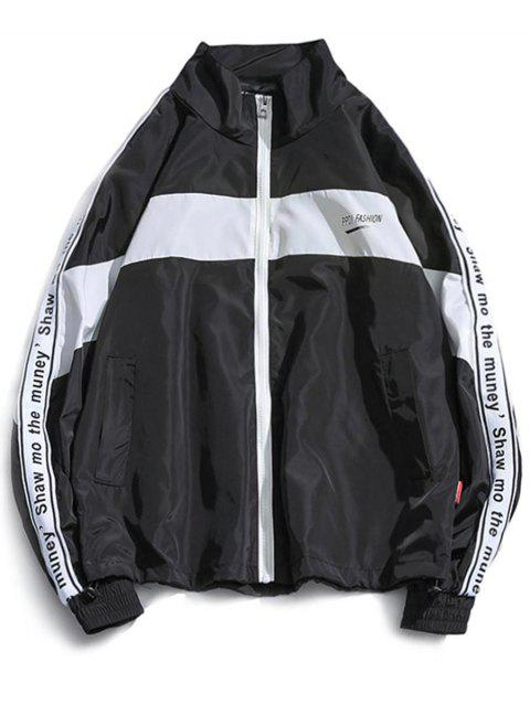 Stand Collor Letter Sleeve Windcheater Jacket - WHITE XS