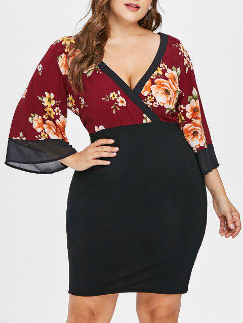 Plus Size Plunging Neck Knee Length Dress - RED WINE L