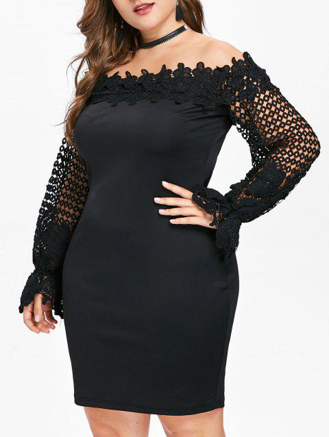 Lace Sleeve Plus Size Applique Bodycon Dress - BLACK 2X