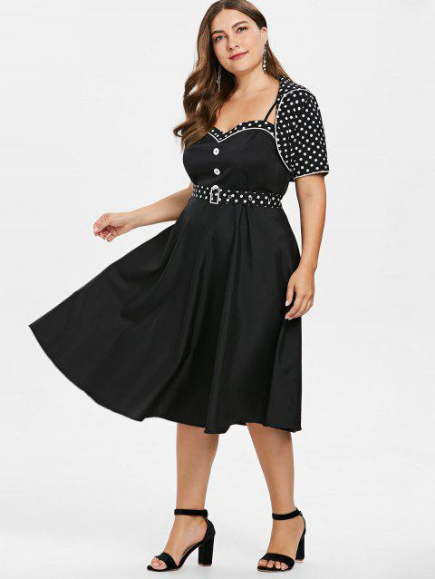 41% OFF] 2019 Plus Size Cami Dress With Polka Dot Cape In BLACK ...