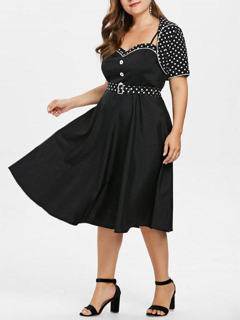 6a4e82285 41% OFF] 2019 Plus Size Cami Dress With Polka Dot Cape In BLACK ...