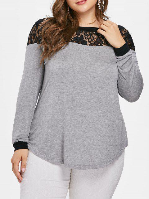 1ef6dfb67d8f8 59% OFF  2019 Plus Size Floral Lace Panel T-shirt In GRAY 4X ...