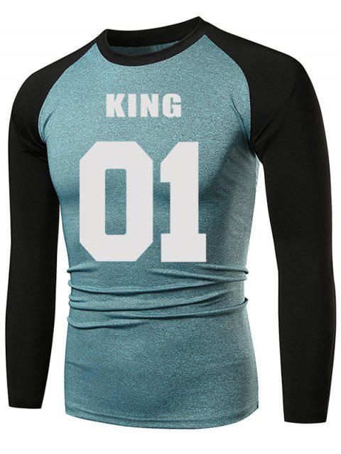 Casual Letter Number Print Raglan Sleeve Tee Shirt - COLUMBIA BLUE 2XL