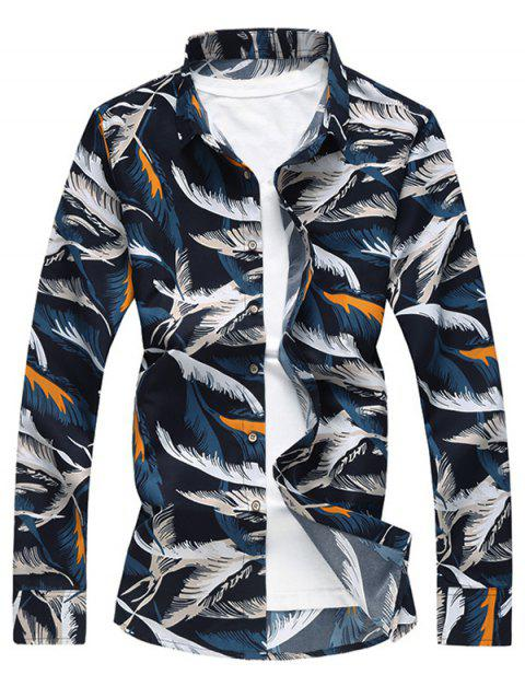 Button Up Feather Print Shirt - multicolor M
