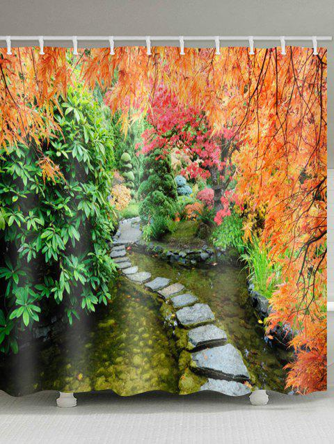 Maple Tree in Autumn Stone Path Print Waterproof Shower Curtain - multicolor W59 INCH * L71 INCH