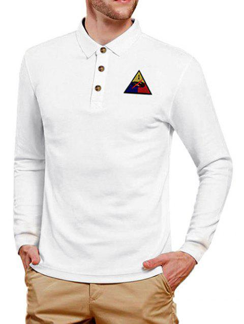 Geometrical Applique Long Sleeve T Shirt - WHITE M