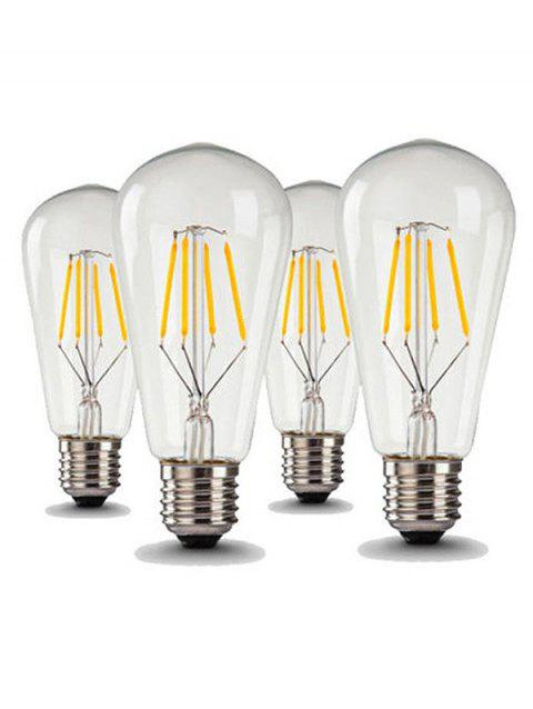 4Pcs ST64 4W COB LED Filament Light AC220-240V Bulbs - WARM WHITE