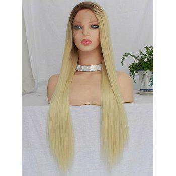 Long Free Part Straight Colormix Synthetic Lace Front Wig - multicolor