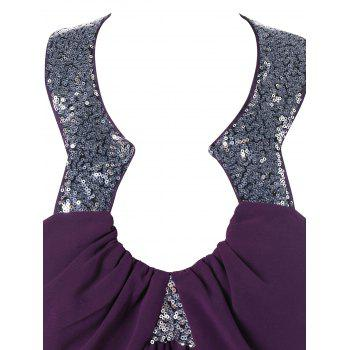Sequined Collar Open Back Cocktail Dress - PURPLE JAM M