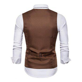 Layered Decoration Slim Fit Dress Vest - BROWN M