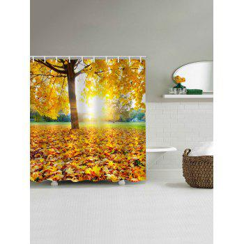 2018 Sunny Fall Tree Leaves Print Waterproof Shower Curtain GOLDEN ...