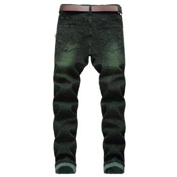 Zip Fly Faded Wash Casual Jeans - DEEP GREEN 38